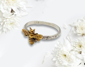 24kt Gold Plate Sterling Silver Bee, Sterling Silver Filigree Band, Handmade