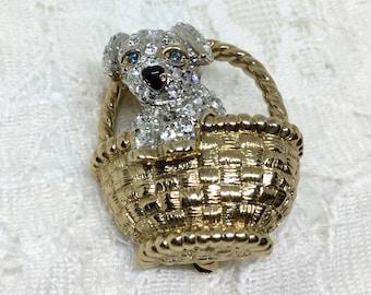 Vintage CAROLEE Signed Rhinestone Puppy in a Basket Brooch Pin