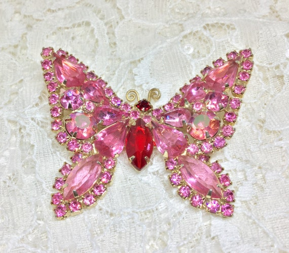 Vintage Pink Rhinestone Butterfly Brooch, Rhinestone Jewelry, Insect Jewelry,  Pink