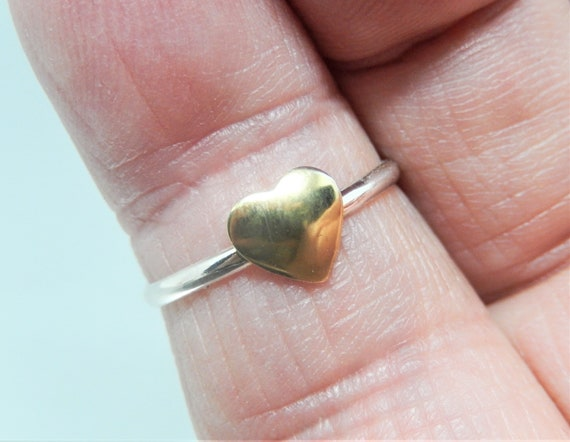 14kt Gold Plated Brass Heart, Sterling Silver Ring, Hand Crafted, Made in USA, Valentines Gift