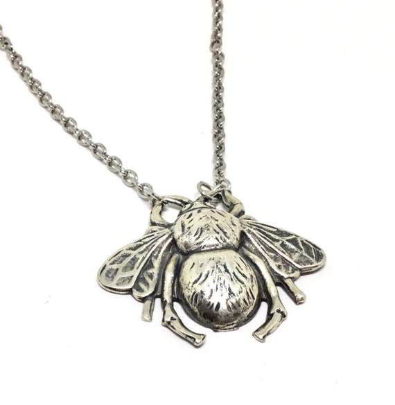 Bumble Bee Pendant, Brass Silver Ox Stamping, Lead Nickle Free. Bee Jewelry