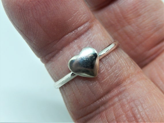 Silver Plated Brass Heart, Sterling Silver Ring, Hand Crafted, Made in USA, Valentines Gift