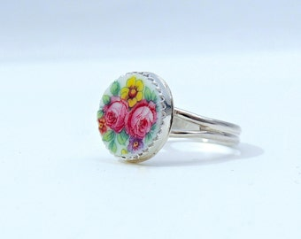 Handcrafted Broken China Ring, Vintage Czech Plate, Roses and Pansies, Sterling Silver, Sweet and Dainty