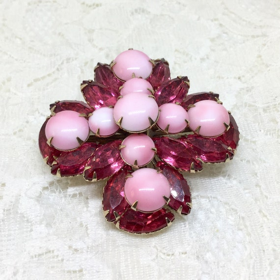Vintage Pink Milk Glass Rhinestone Flower Brooch, Raspberry Pink Rhinestones, Vintage Rhinestone Brooch