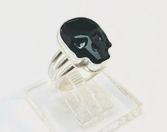Handmade USA 925 Sterling Skull Ring, Black European Crystal Skull, Man or Woman