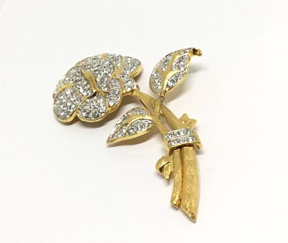 Vintage Nolan Miller Pave Rose Brooch, Statement Brooch, Bridal Jewelry, Goldtone Setting