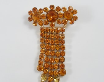 Vintage Rich Topaz  Color Three Flower Dangle Waterfall Brooch Pin