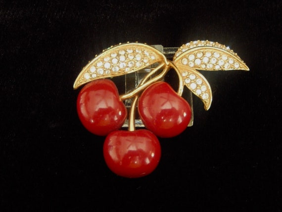 Vintage Joan Rivers Cherry Brooch, Three Glossy Cherries, Three Pave Crystal Leaves, Book Piece, Joan Rivers Collectors