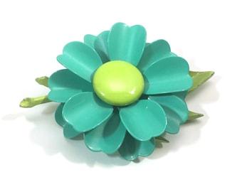 Vintage Blue/Green Enamel Metal Flower brooch Pin