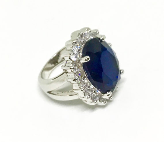 Princess Diana Ring, Nolan Miller Ring, Reproduction Royal Wedding Ring, Clear & Blue CZs, Statement Ring