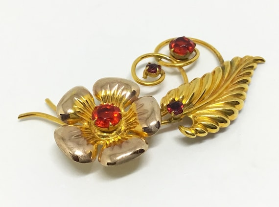 Vintage I. Michelson Gold Filled Rhinestone Flower Brooch, Red Rhinestones, Art Deco, 1930s