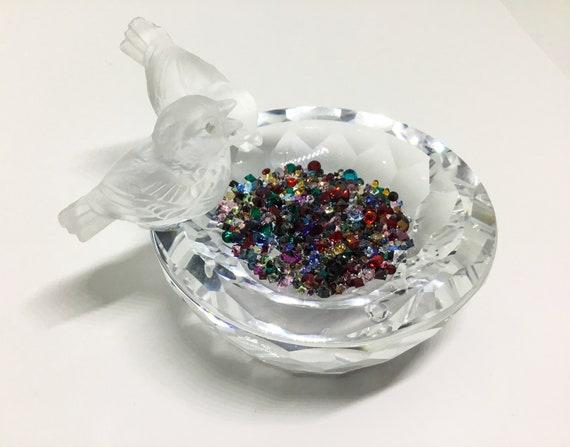 Vintage Swarovski Crystal Birdbath, Frosted Birds, Multicolor Crystal Water, Bird Lover