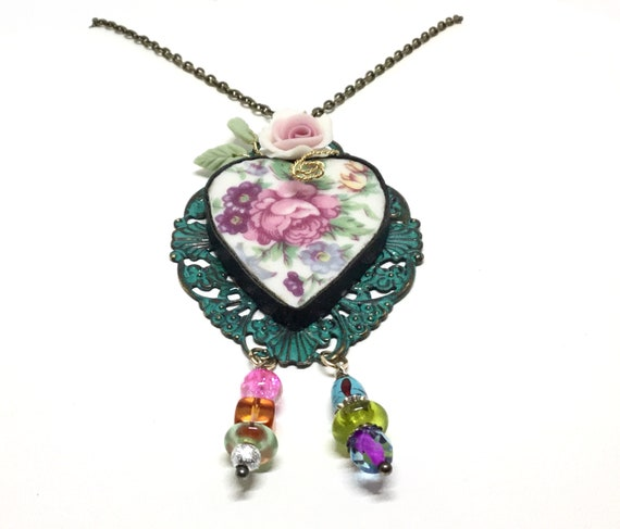 "Handcrafted Broken China Rose Pendant, Porcelain Rose and Leaves, Sweet Bead Dangles, 24"" Brass Chain, Verdigris Filigree Base"