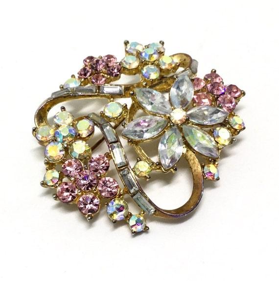 Vintage Rhinestone Floral Brooch,  Pink,  Blue, & AB Rhinestones, Goldtone, Signed K C