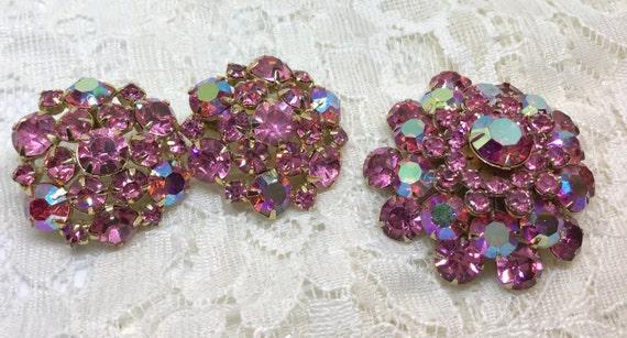 Vintage Pink & Pink AB Rhinestone Flower Married Brooch Earring Set