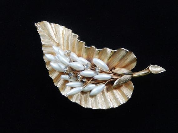 Vintage Faux Pearl Rhinestone Leaf Brooch