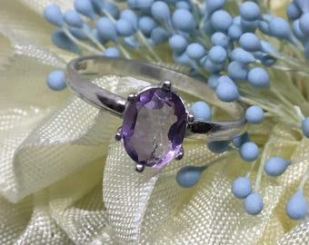 Handcrafted 8 x 6mm Amethyst SS Ring
