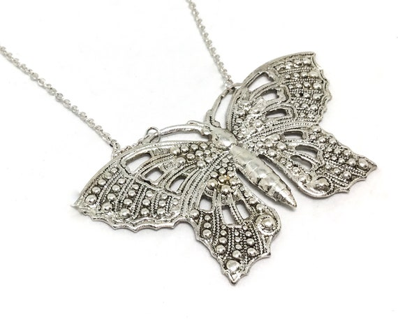 Sterling Silver Plated Filigree Butterfly Necklace, Insect Jewelry, BOHO