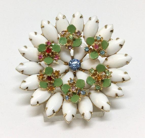 Vintage Milk Glass Enamel Rhinestone Flower Brooch Pin