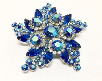 Vintage D & E Juliana Rhinestone Flower Swirl Star Brooch Pin