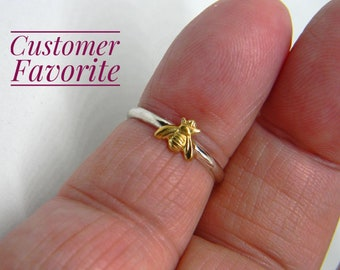 Handmade USA Honey Bee Ring, 24kt Goldplated Brass Bee, 925 Sterling Silver Band, Hand Formed, Customer Favorite