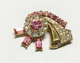 Vintage Goldtone Flower Swirl Brooch, Pink and Clear Rhinestones, Pink Baguettes, Goldtone Fold, Flower