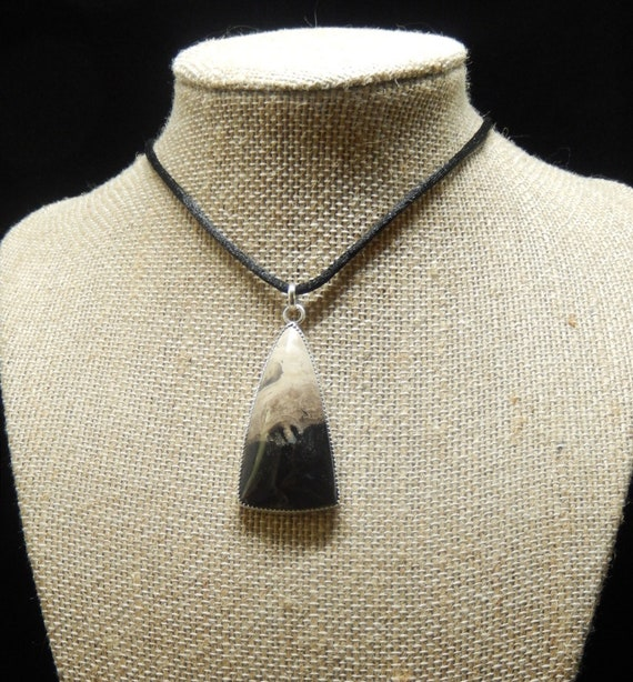 Handcrafted Necklace/ Petrified Palmwood/ 925 Sterling