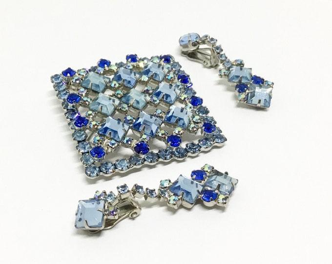 Featured listing image: Vintage Juliana D & E Rhinestone Brooch Pendant, Brooch/Pendant/Earrings Set, Square Rhinestones, Shades of Blue, Juliana Collectors