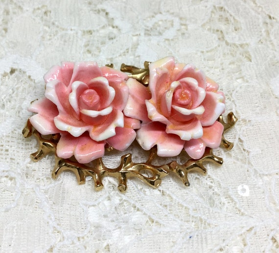 Vintage Judy Lee Double Rose on Thorn Bed Oval Brooch Pin