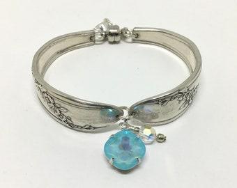 Handmade Vintage Spoon Bracelet, Silverplated,  European Crystal Dangle, Mothers Day Gift