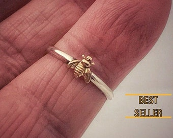 Made in USA, Tiny Bee, 14kt Gold Filled Bee, 925 Sterling Silver Band, Bee Ring,