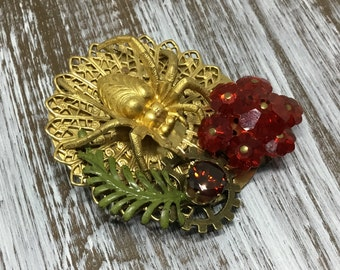 Handcrafted Spider Brooch/Vintage Earring/Rhinestone/Fern/Brass Spider/Unique Brooch/Artisan Created/Handmade Jewelry/Brass Brooch