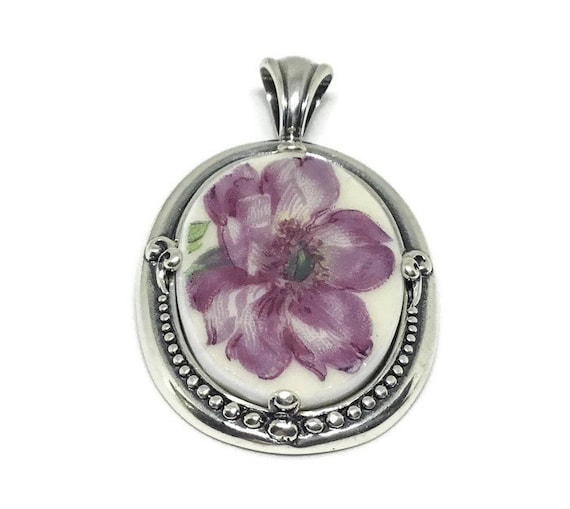 Broken China Jewelry/Hand Cut Cabachon/Floral Cabachon/Sterling Silver Setting/Floral Pattern Pendant/Oval Cabachon/Purple Flower/925/