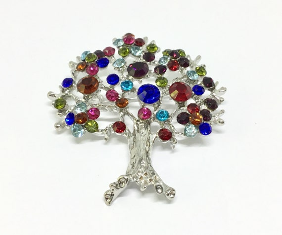 Wedding Rhinestone Tree/Crystal Tree Brooch Pin/ Bridal Pin/Vintage Inspired/Multicolored Crystals/Wedding Bouquet/Sparkle Bling/Crafting