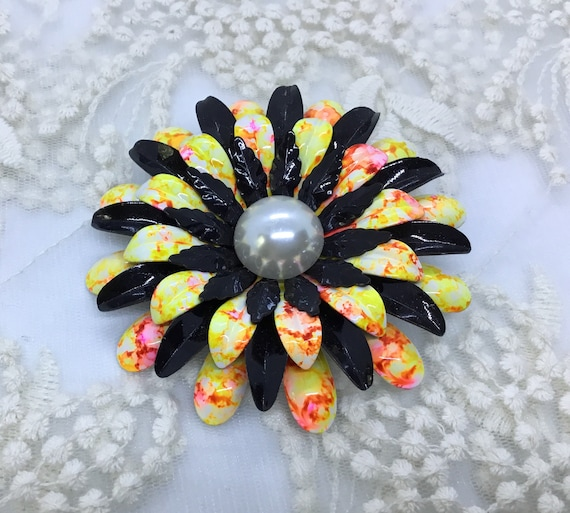 70s Flower/ Black and Yellow Splatter Enamel/ Vintage Brooch Pin/BOHO/Faux Pearl Center/ Layered Petals/Vintage FlowerBrooch