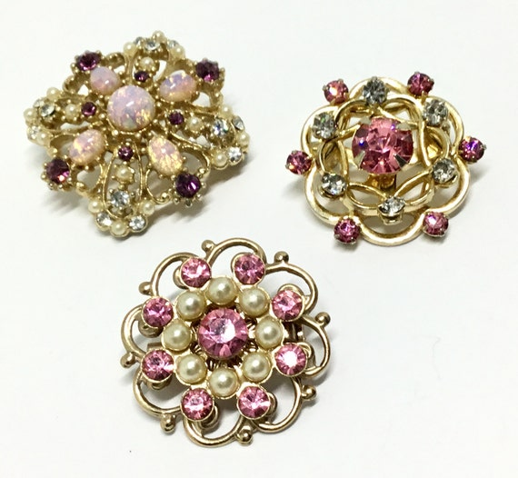 Vintage Cute Pink Brooches/Pins, Goldtone Rhinestone Pins, Smaller Pins, One Signed CORO, Faux Pink Opals
