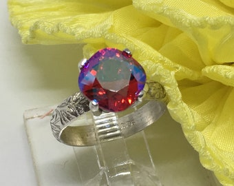 Handcrafted Size 9 Sterling Silver Ring Made With A Swarovski Crystal