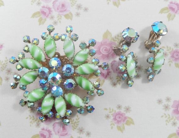 Vintage AB Rhinestone and Green Stripe Milk Glass Floral Brooch Earring Set