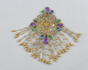 Vintage Large Beaded Applique with Pin, Multiple Bead Dangles, BOHO