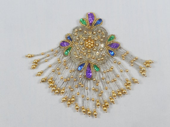 Vintage Large Beaded Applique with Pin