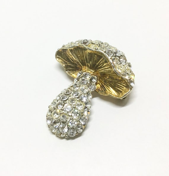 Vintage Rhinestone Mushroom Brooch, Sparkly Clear Rhinestones, Costume Jewelry, Rhinestone Jewelry, Mothers Day Gift