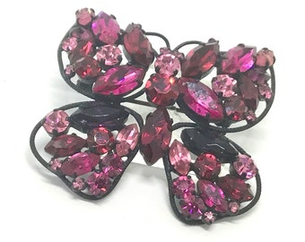 Vintage MADE IN AUSTRIA Rhinestone Butterfly Brooch, Japanned Setting, Dazzling Rich Colors