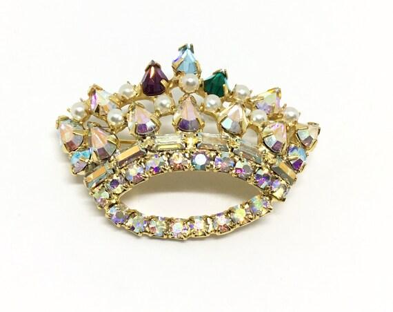 Vintage Mother's Crown Brooch, Unsigned B DAVID Crown, Rhinestone Brooch