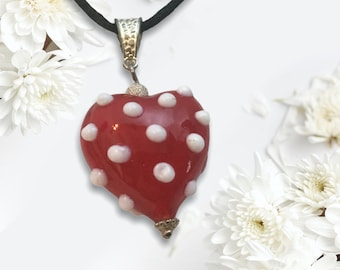 Handmade Lampwork Red Puffy Heart with Raised Polka Dots Necklace,  Black Cord, Sweet Gift