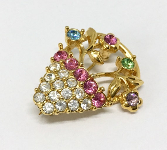 Flower Basket Pin/Signed Monet/Pastel Rhinestone Flowers/Vintage Brooch Pin/Goldtone/Springtime/Pink & Clear Rhinestone Basket/Sparkly
