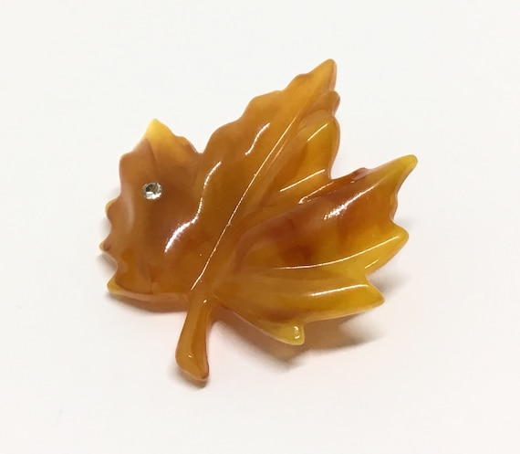 Vintage Avon Molded Lucite Leaf Brooch, Rhinestone Accent, Butterscotch Swirl Color, Leaf Collectors