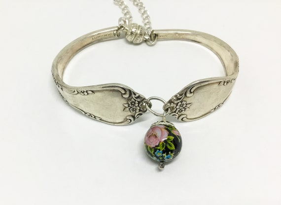 Handcrafted Spoon Bracelet, Silverplated with Dangle Bead, Spoon Jewelry
