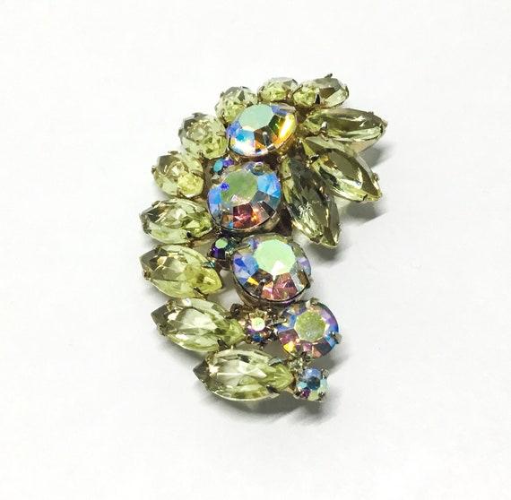 Vintage Yellow Rhinestone Brooch, Swirl Leaf Design, Rhinestone Jewelry