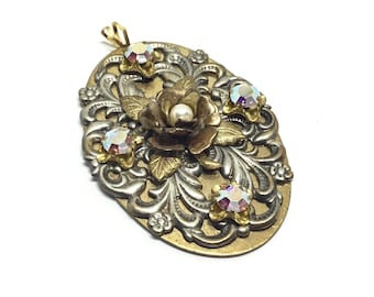 Handcrafted Rose Filigree Rhinestone Pendant, Brass Oval And Filigree, Cabbage Rose with Faux Pearl, Rainbow AB European Crystals