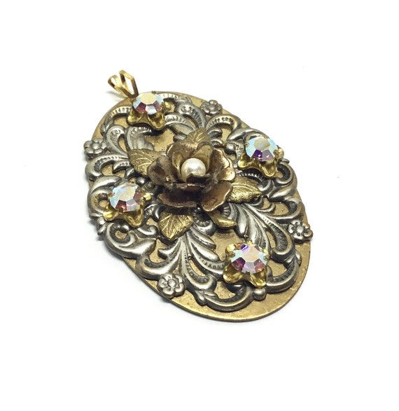 Handcrafted Rose Filigree Rhinestone Pendant, Brass Oval And Filigree, Cabbage Rose with Faux Pearl, Rainbow AB Swarovski Crystals